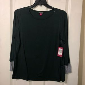 Dark Olive Green L/S Blouse Vince Camuto Size 1X